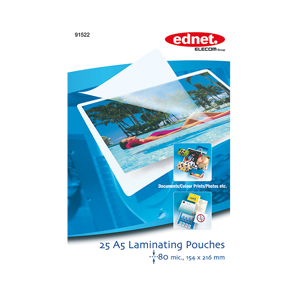 Ednet A5 laminating pouches 80 mic, 25 pcs