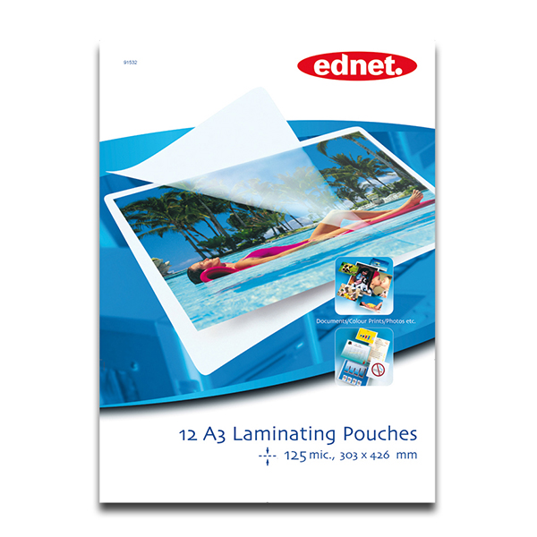A3 laminating pouches 125 mic, 12 pcs