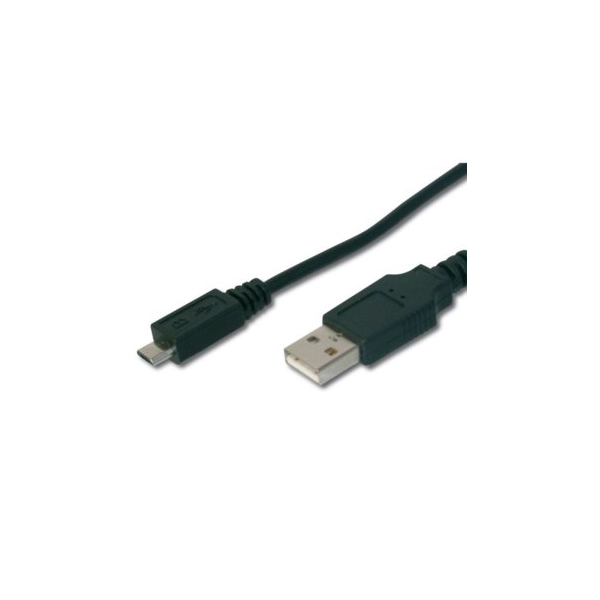 USB 2.0 connection cable, type A - micro B, M/M, 3.0m, USB 2.0 conform, UL, bl